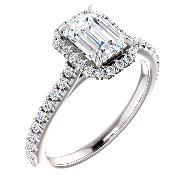 The Iris - Emerald Cut Halo Diamond Engagement Ring