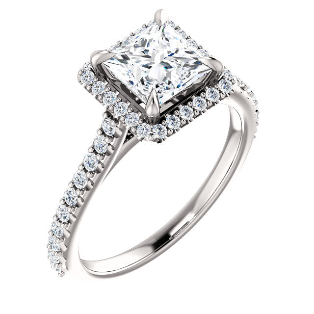 The Iris - Princess Cut Halo Diamond Engagement Ring