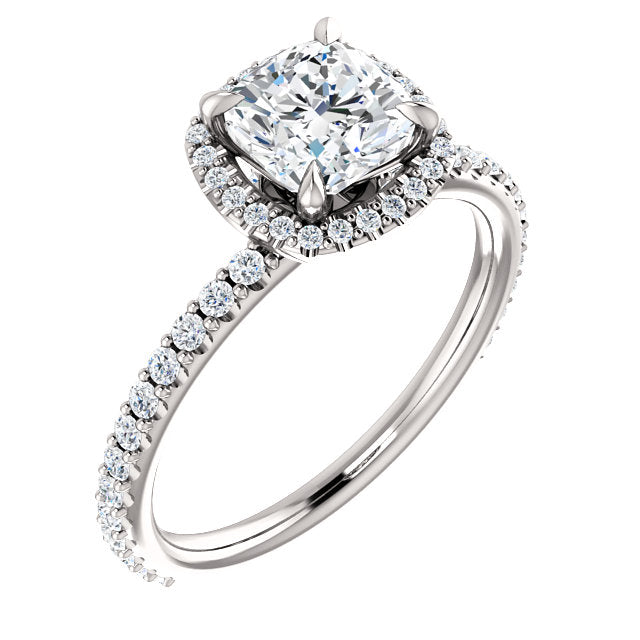 The Isabel - Cushion Cut Halo Diamond Engagement Ring