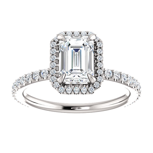 The Isabel - Emerald Cut Halo Diamond Engagement Ring