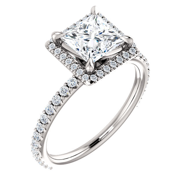 The Isabel - Princess Cut Halo Diamond Engagement Ring