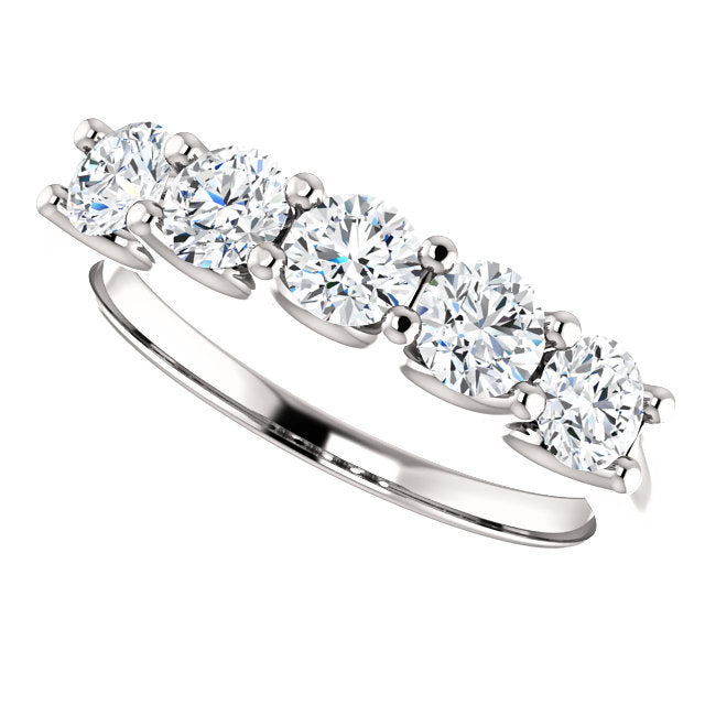 1.00ct 14k Five Diamond Wedding Band