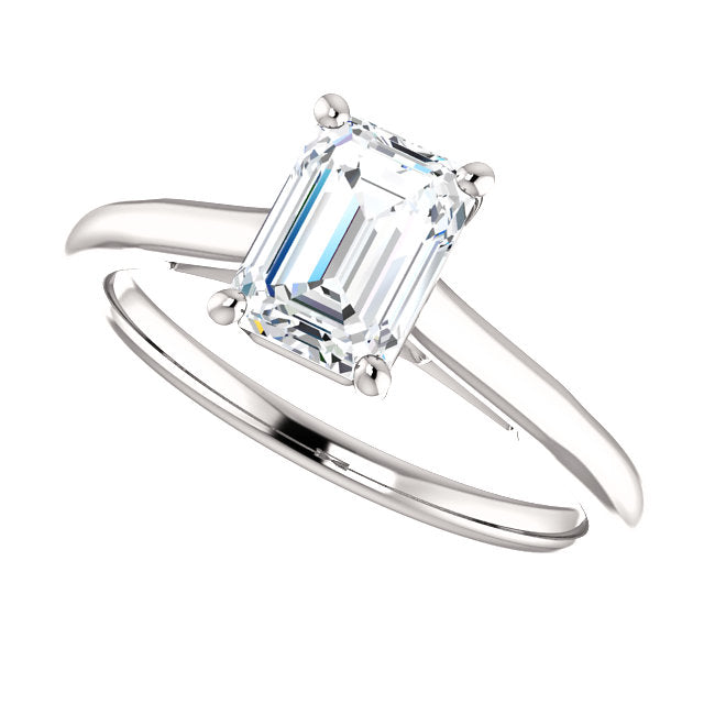 The Hannah - Solitaire Emerald Cut Diamond Engagement Ring