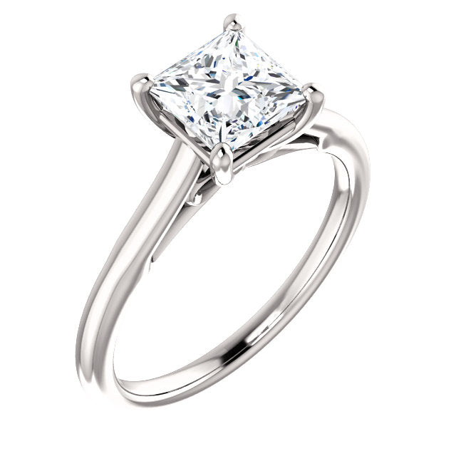 The Hannah - Solitaire Princess Cut Diamond Engagement Ring