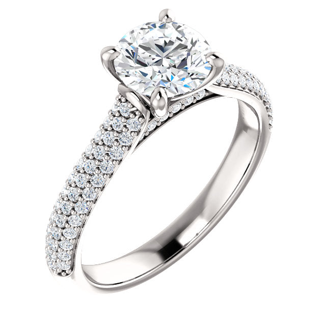 The Ava - Round Diamond Engagement Ring with Side Stones