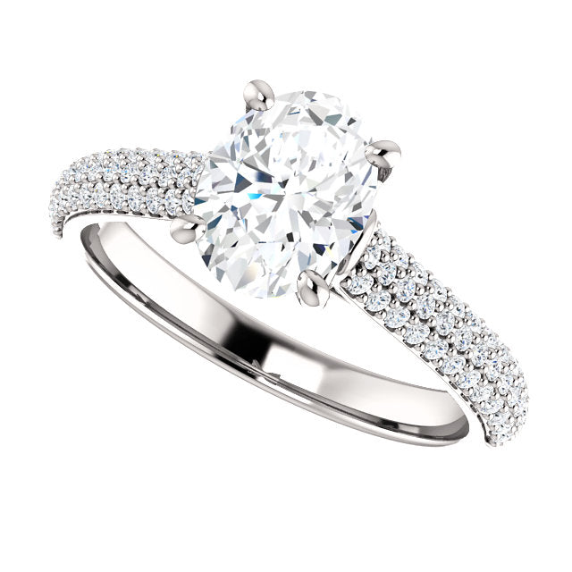 The Ava - Oval Diamond Engagement Ring with Side Stones