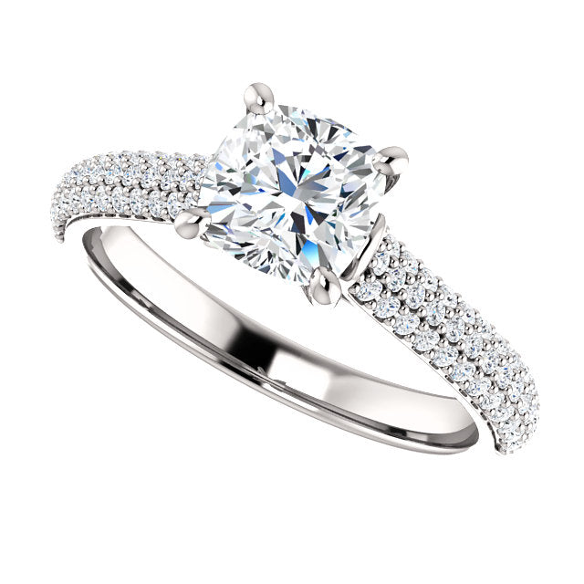 The Ava - Cushion Cut Diamond Engagement Ring with Side Stones