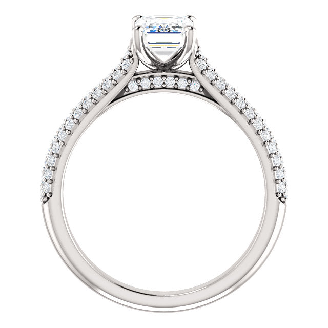 The Ava - Emerald Cut Diamond Engagement Ring with Side Stones