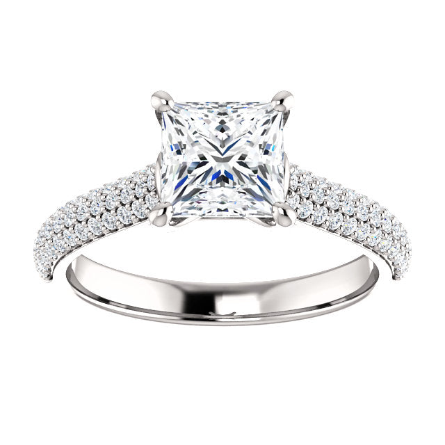 The Ava - Princess Cut Diamond Engagement Ring with Side Stones