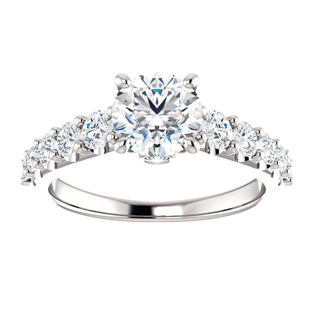 The Ophelia - Round Diamond Engagement Ring with Side Stones