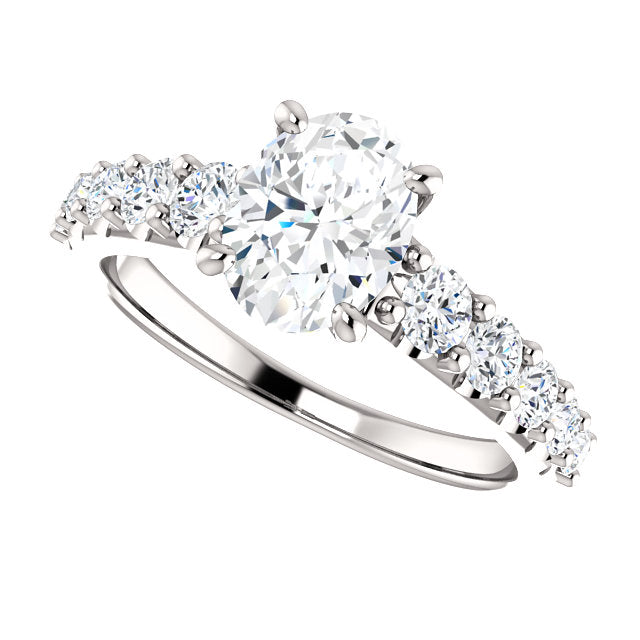 The Ophelia - Oval Diamond Engagement Ring with Side Stones