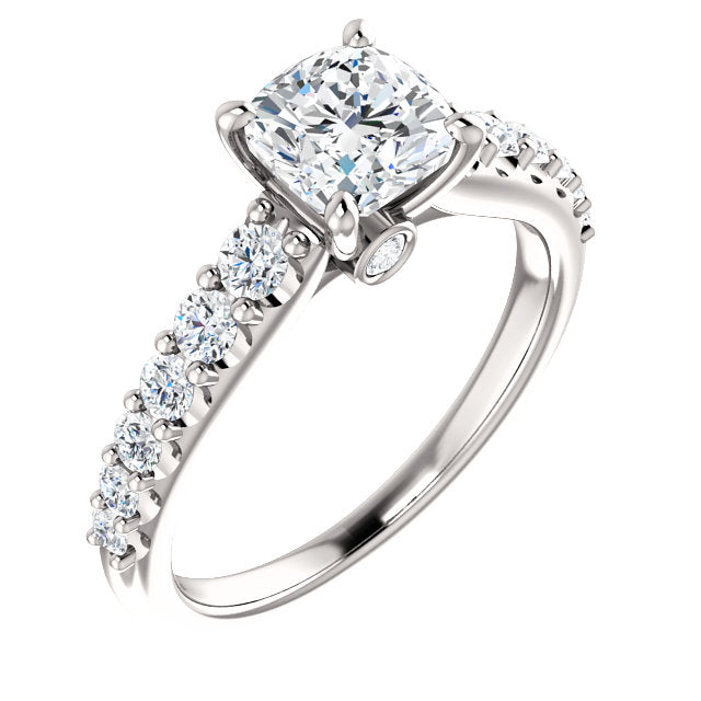 The Ophelia - Cushion Cut Diamond Engagement Ring with Side Stones