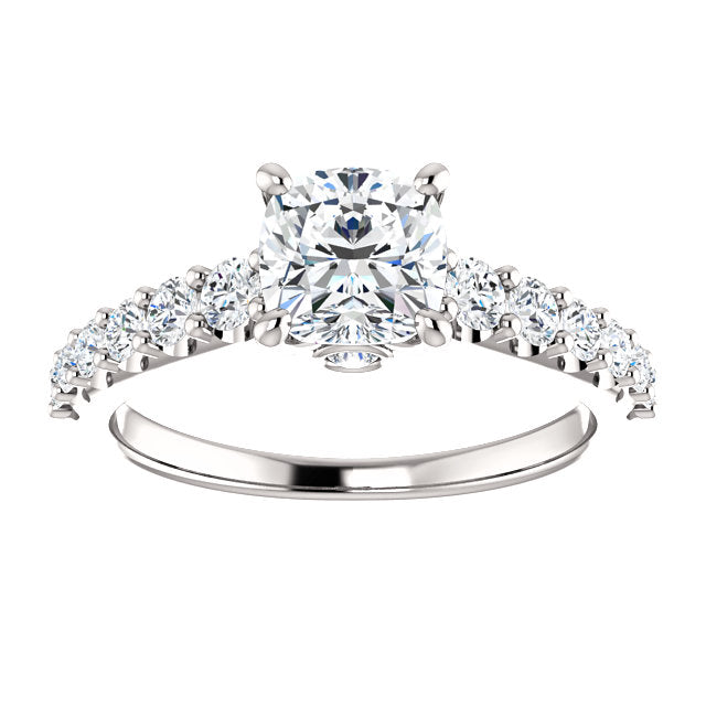 The Ophelia Cushion Cut Diamond Engagement Ring With Side Stones