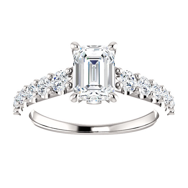 The Ophelia - Emerald Cut Diamond Engagement Ring with Side Stones