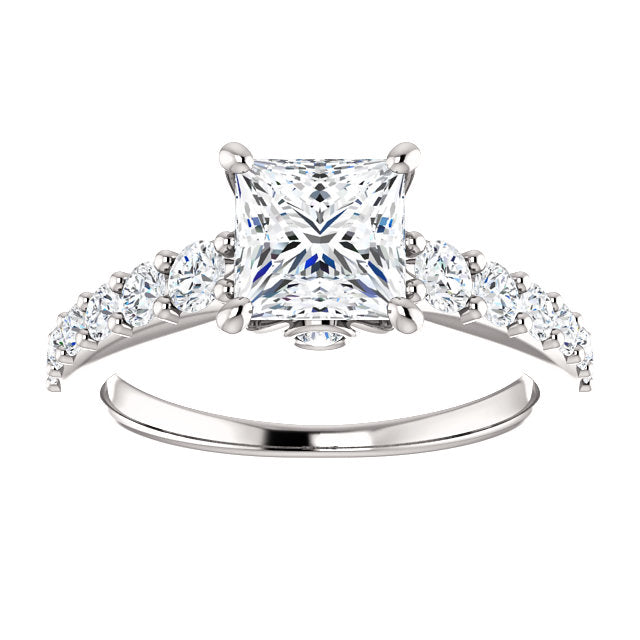 The Ophelia - Princess Cut Diamond Engagement Ring with Side Stones