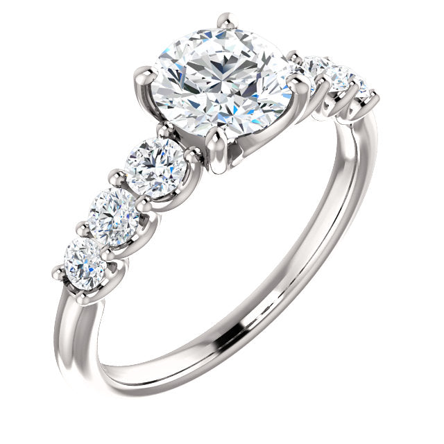 The Elle - Round Diamond Engagement Ring with Side Stones
