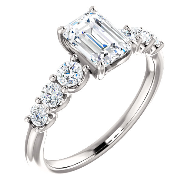 The Elle - Emerald Cut Diamond Engagement Ring with Side Stones