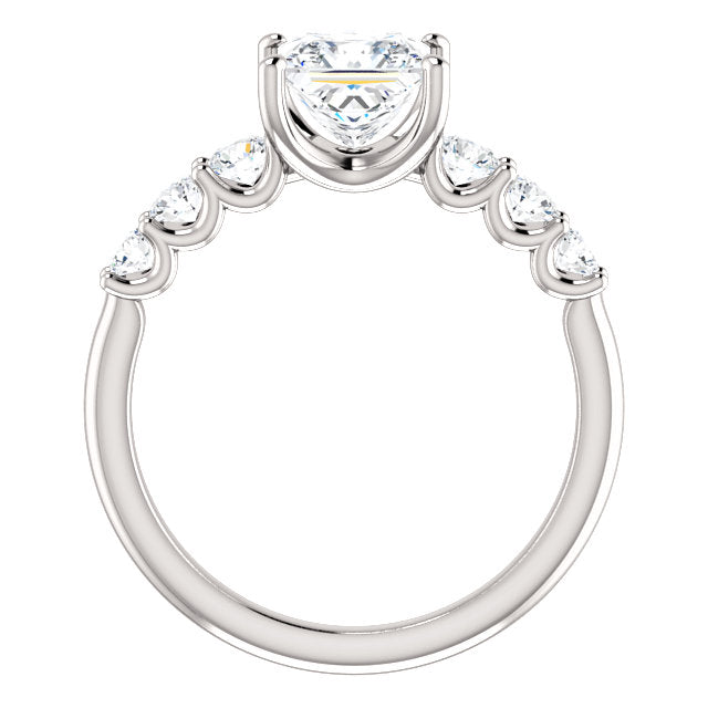 The Elle - Princess Cut Diamond Engagement Ring with Side Stones