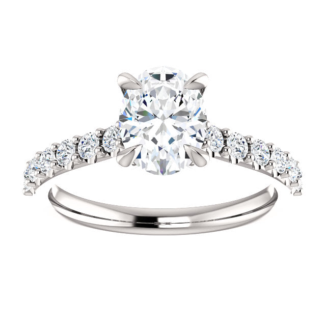 The Bella - Oval Diamond Engagement Ring with Side Stones