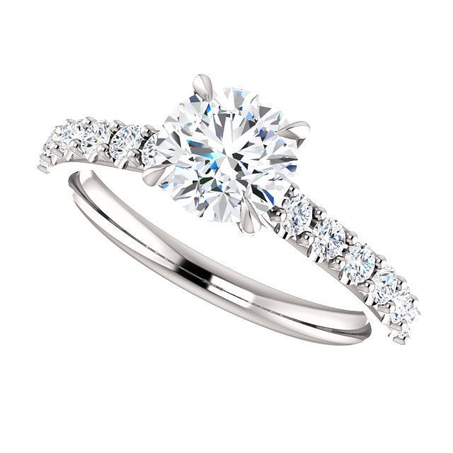 The Bella - Round Diamond Engagement Ring with Side Stones
