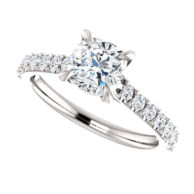 The Bella - Cushion Cut Diamond Engagement Ring with Side Stones