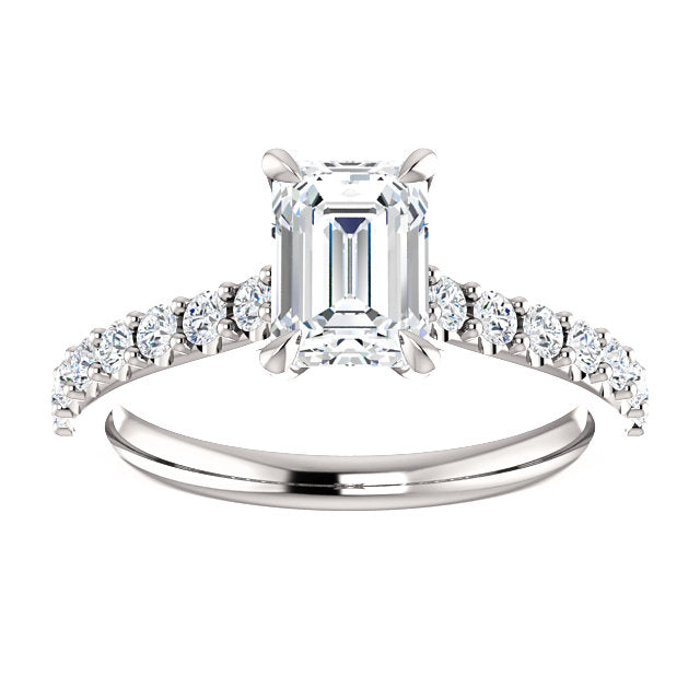 The Bella - Emerald Cut Diamond Engagement Ring with Side Stones