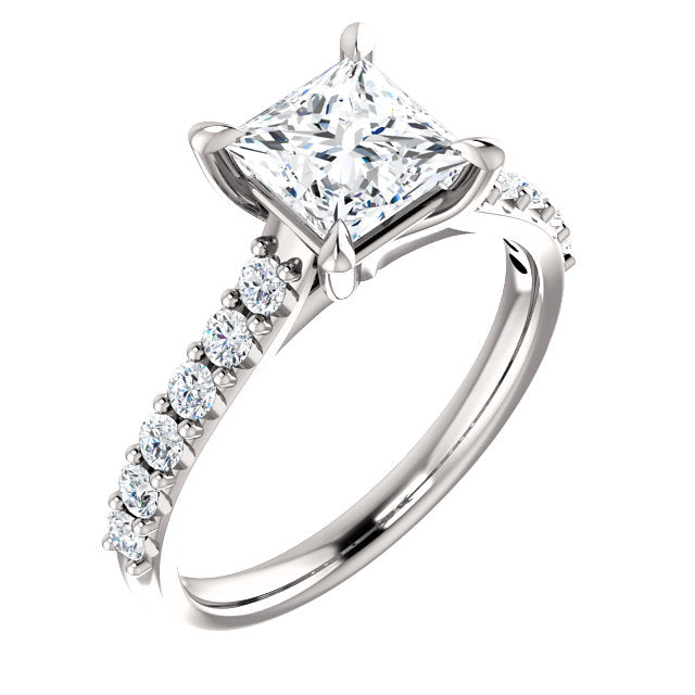 The Bella - Princess Cut Diamond Engagement Ring with Side Stones