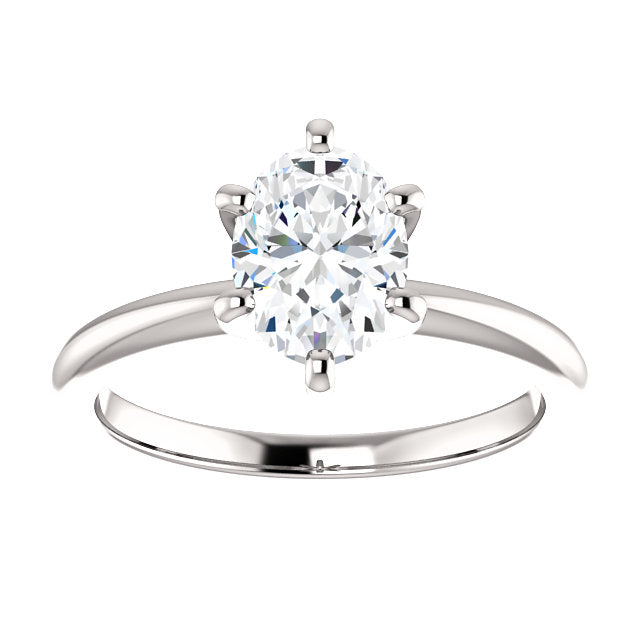 The Mila - Solitaire Oval Diamond Engagement Ring 6 Prong