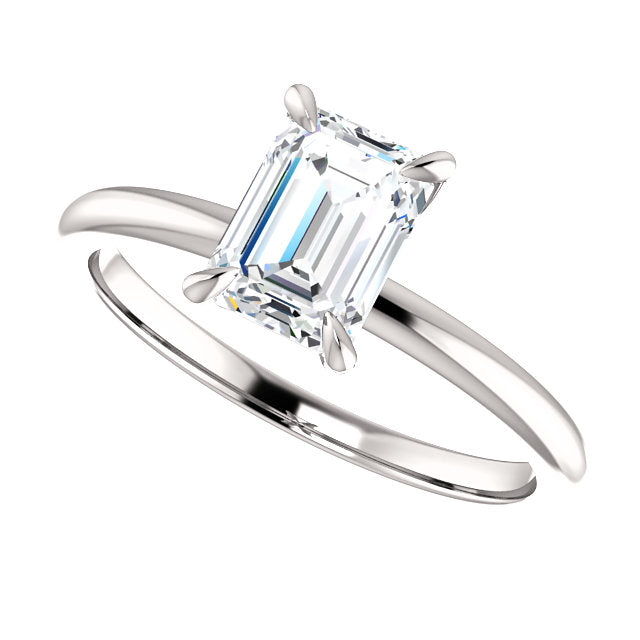 The Madeline - Solitaire Emerald Cut Diamond Engagement Ring
