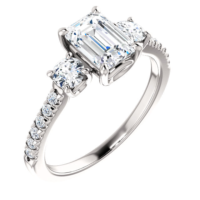 The Jane - Emerald Cut Diamond Engagement Ring with Side Stones