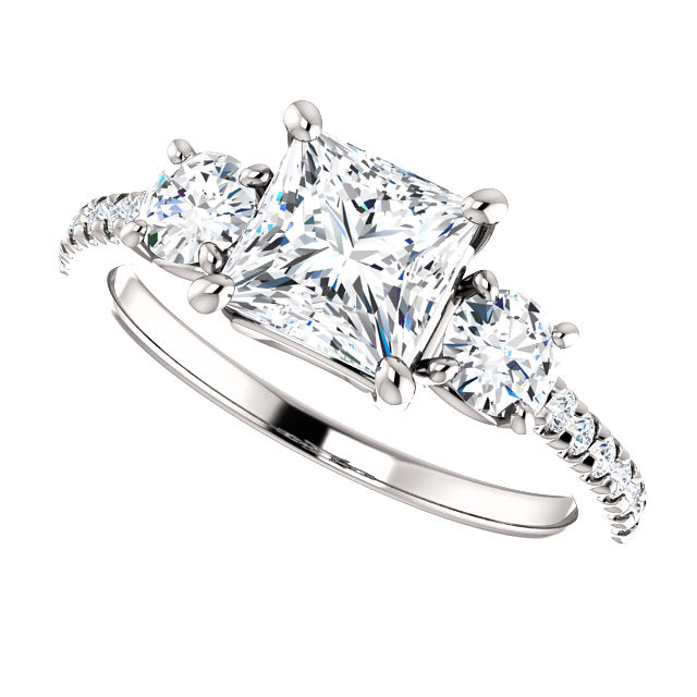 The Jane - Princess Cut Diamond Engagement Ring with Side Stones