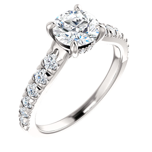 The Isla - Round Diamond Engagement Ring with Side Stones
