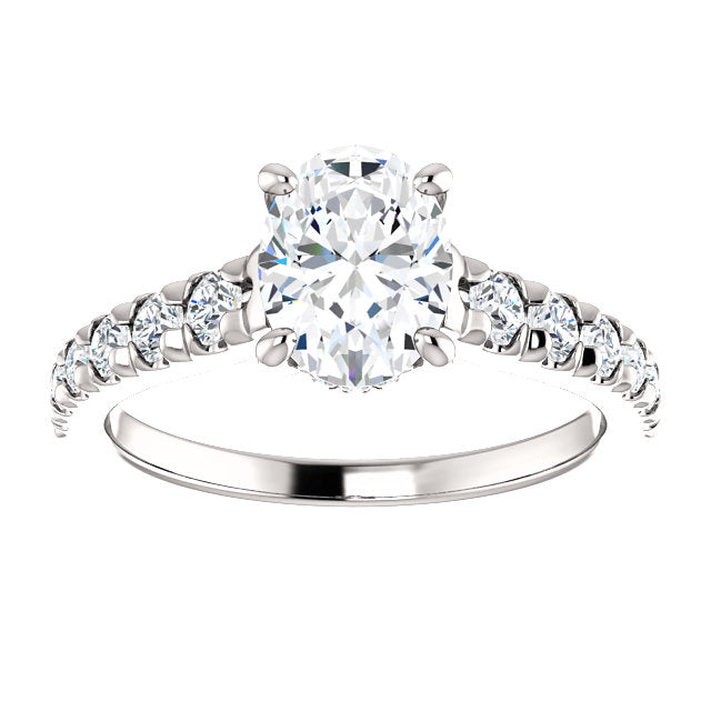 The Isla - Oval Diamond Engagement Ring with Side Stones