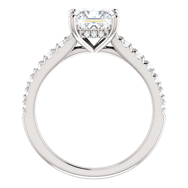 The Isla - Princess Cut Diamond Engagement Ring with Side Stones