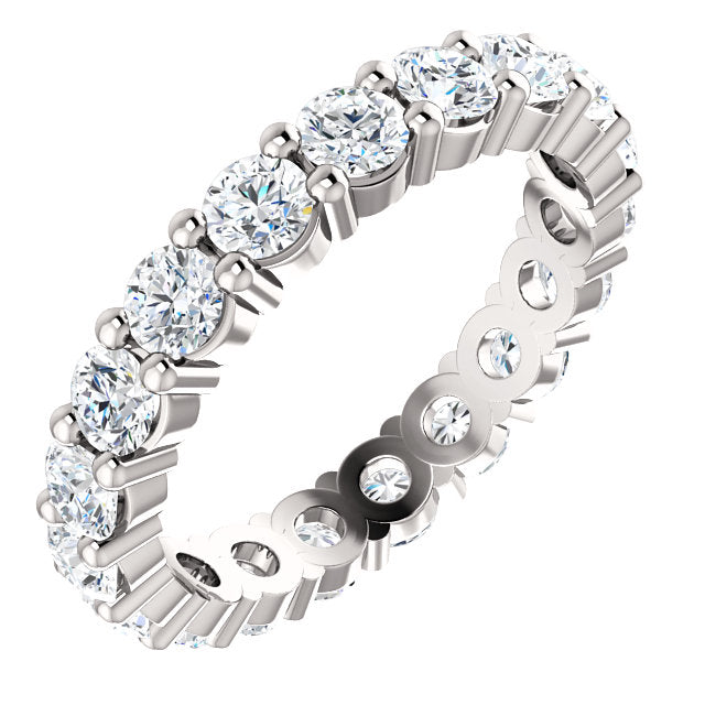 1.90ct 14k Low Profile Diamond Eternity Band with Shared Prongs