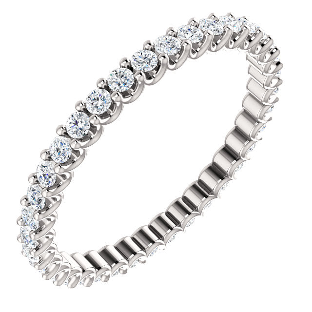 5/8ct 14k Diamond Eternity Band with Scalloped Style Shared Prongs