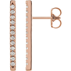 Large Diamond Bar Earrings