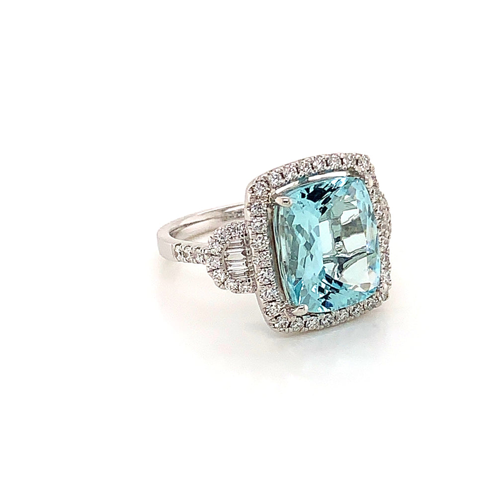 Elongated Cushion Cut Aquamarine and Diamond Ring
