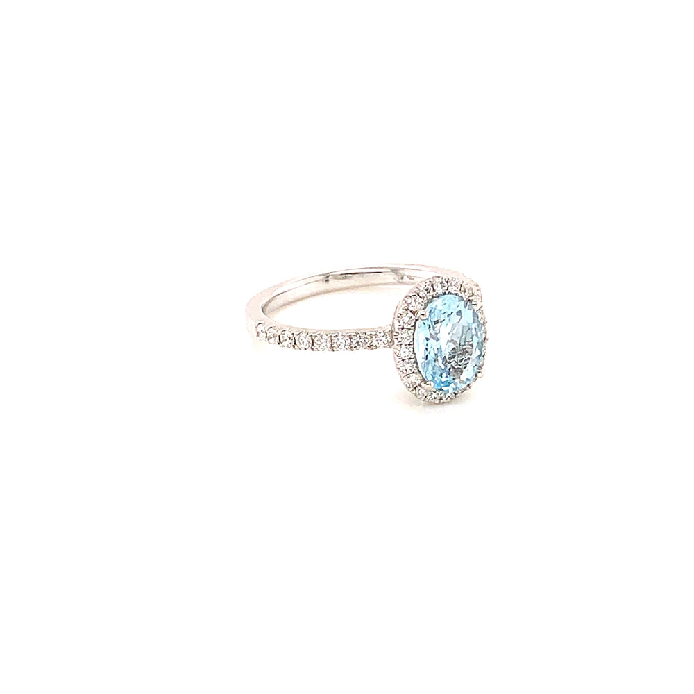 Oval and Diamond Aquamarine Ring