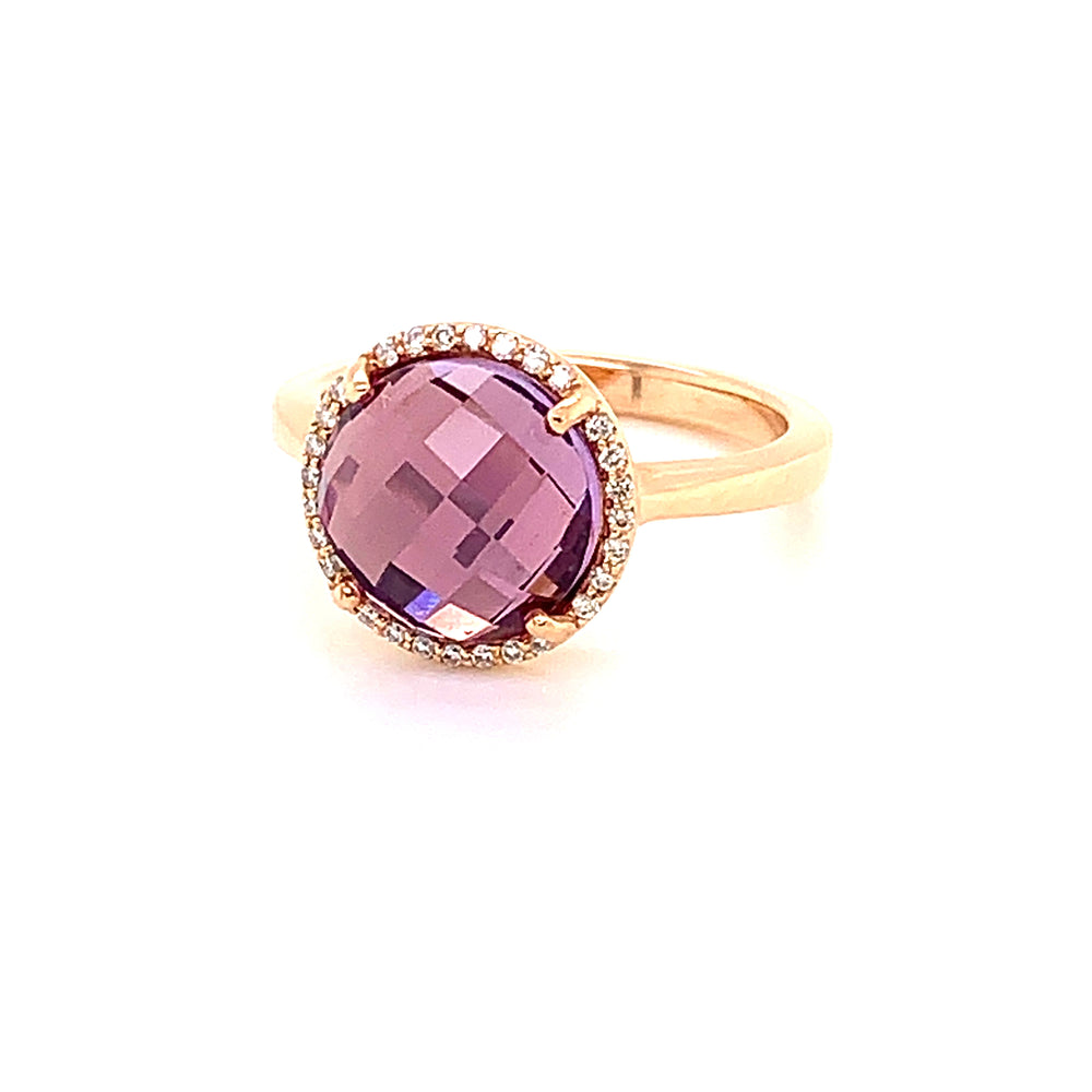 French Rose Amethyst Ring
