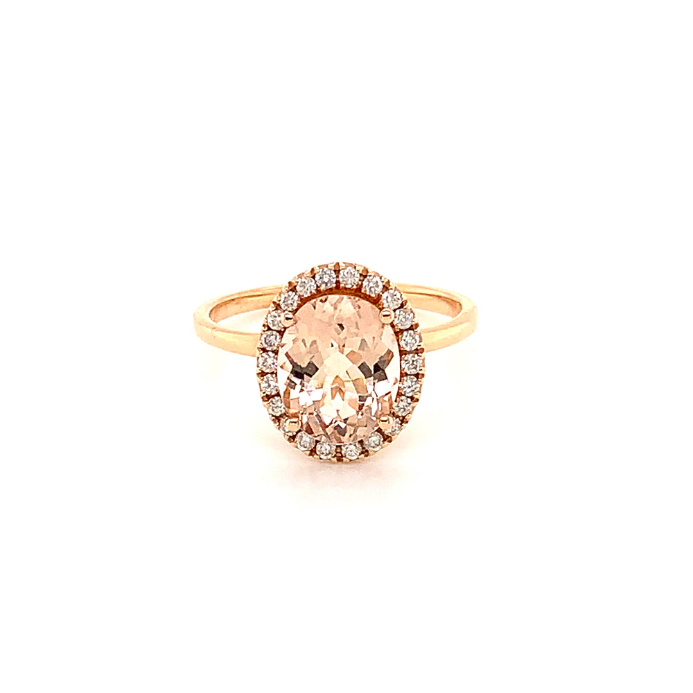 2.20CT Morganite and Diamond Ring