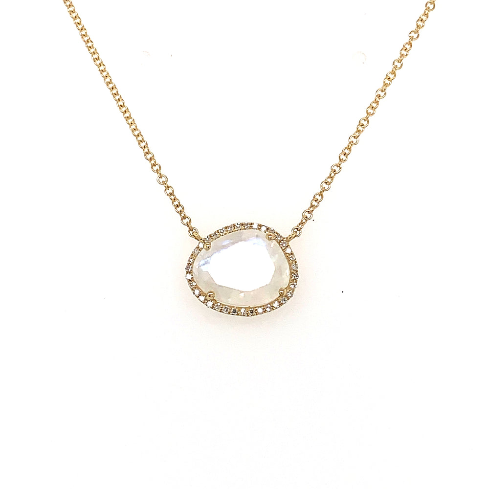 Moonstone and Diamond Necklace