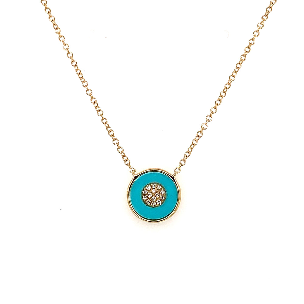 Turquoise and Diamond Cluster Necklace