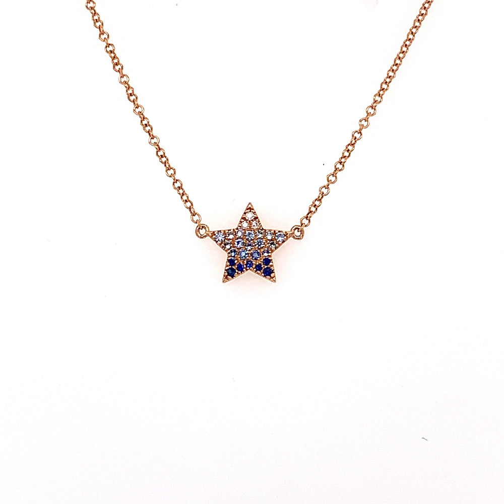 Ombre Blue Sapphire Star Necklace