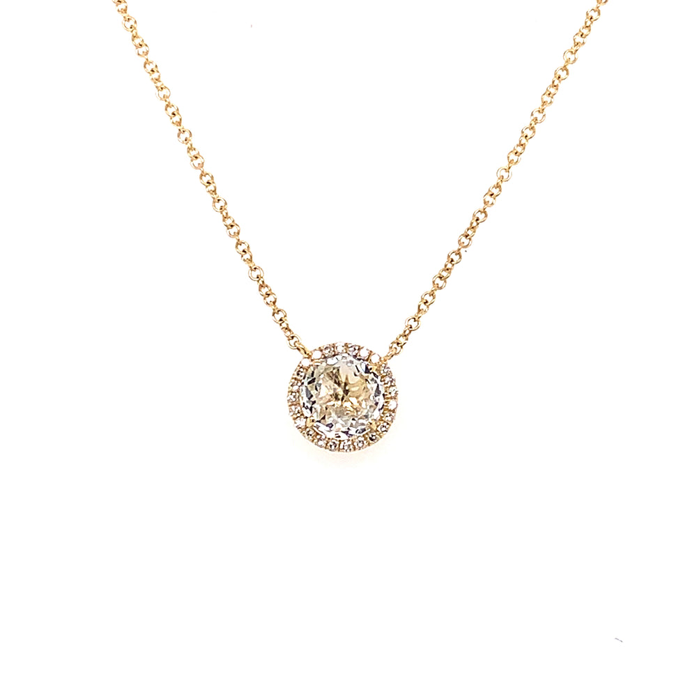 White Topaz and Diamond Necklace