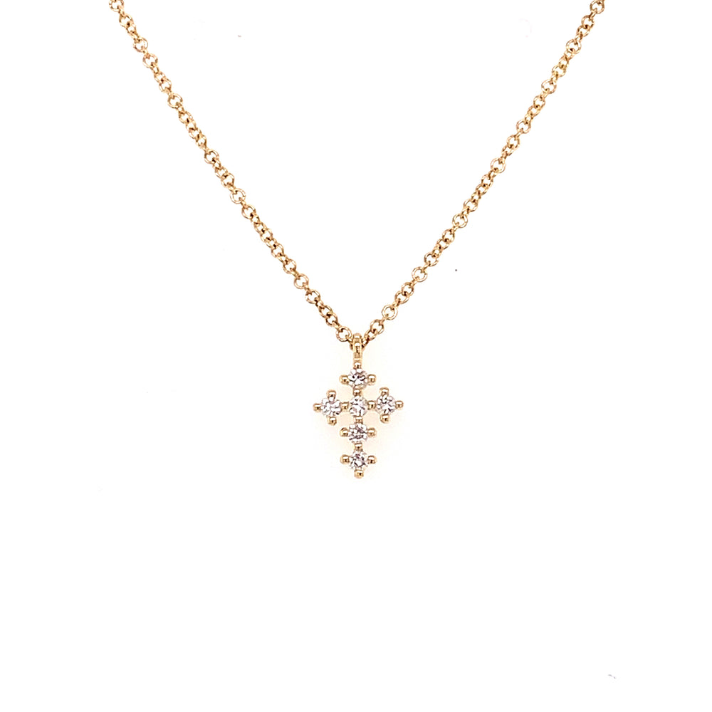 Mini Yellow Gold Diamond Cross