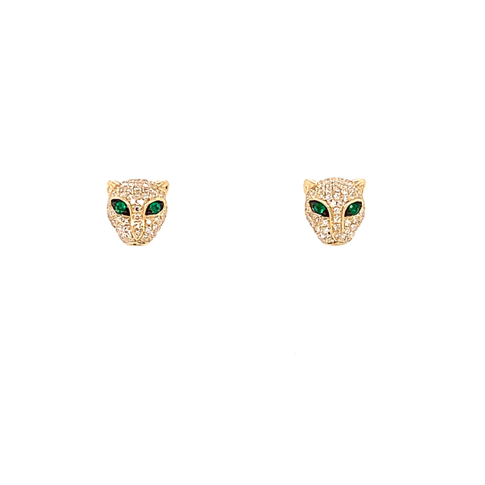 Panther Diamond and Emerald Studs