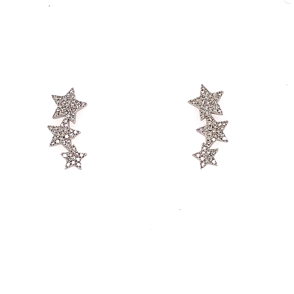 14K White Gold Graduated Diamond Star Earrings