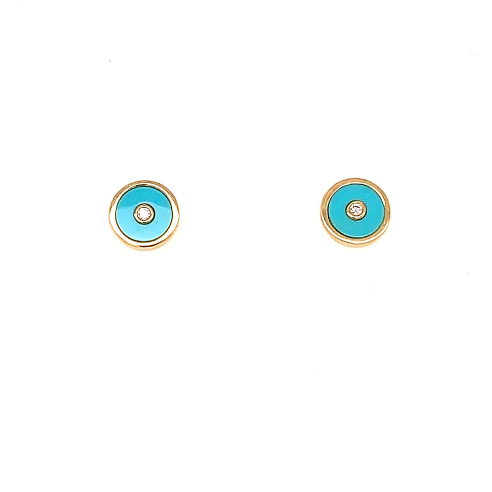 Turquoise and Bezel Set Diamond Earrings