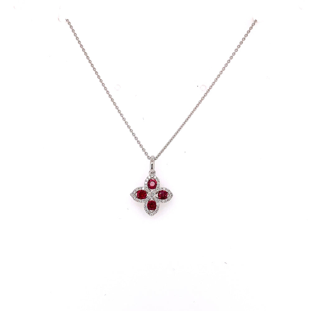 Ruby Clover and Diamomd Halo Pendant